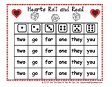 Hearts Roll and Read Sight Word Game