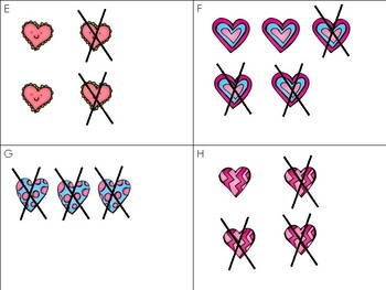 Hearts Subtraction Write the Room