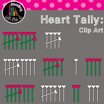 Hearts Tally Clip Art Color and b&w