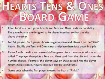Hearts Tens and Ones Addition Board Game