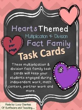 Hearts Themed Fact Family Task Cards! {Mult. & Div.}