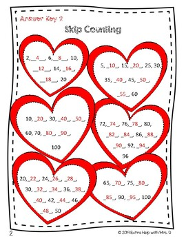 Valentines Math Pack ~ 2 & 3 Digit Addition & Subtraction/Skip Counting