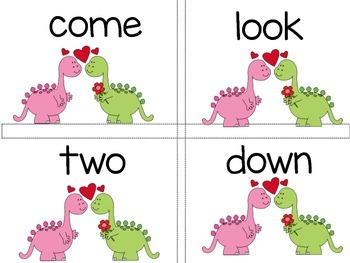 Hearts (Valentine Themed) Sight Word Game with number and color words