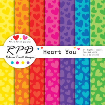 Hearts Valentines pattern bright rainbow colours digital paper set/ backgrounds