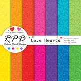Hearts Valentines pattern, bright rainbow colours digital