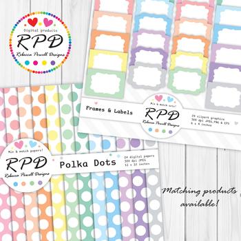 Hearts Valentines pattern, pastel colours & white digital paper set/ backgrounds