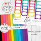 Hearts Valentines pattern rainbow colours & white digital paper set/ backgrounds