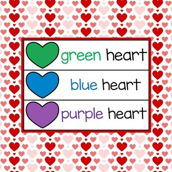 Hearts Vocabulary and Graphing Game for Special Education