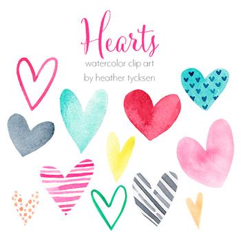 Hearts - Watercolor Clip Art