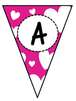 Hearts Word Wall Letter Pennants