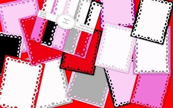 Valentine's Day Themed Digital Paper Background & Frames - Hearts-a-Flutter