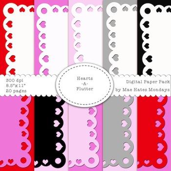 Valentine's Day Themed Digital Paper Background & Frames -