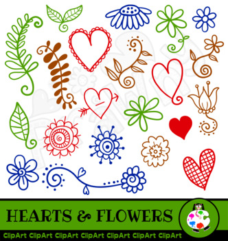 Hearts and Flowers ClipArt Doodles