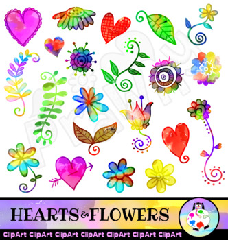 Hearts and Flowers Watercolor Clip Art