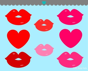 Hearts lips kisses clipart commercial use