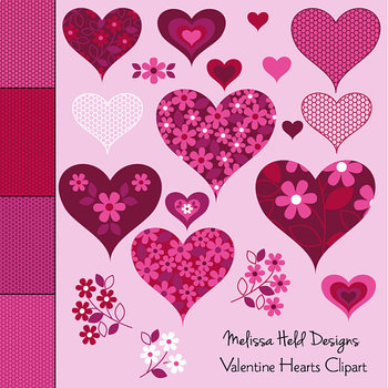 Valentine Hearts Clipart and Lace Patterns