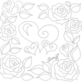 Hearts and Roses Coloring Page & Clip Art