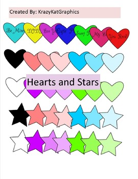 Hearts and Stars Clip Art - 35 pieces - Black Line Included