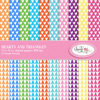 Hearts and Triangles Digital Papers