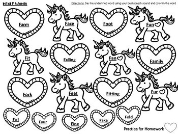 Hearts and Unicorns Articulation Print and Go Packet