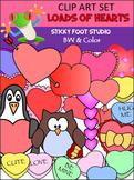 HUGE BUNDLE Valentine's Day Heart Clip Art - Color And BW