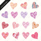 Hearts clipart, Valentine clipart, Watercolor clipart