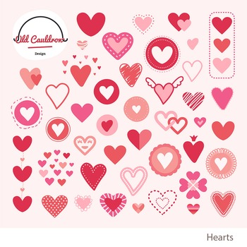 Hearts clipart commercial use, valentines clipart vector graphics CL018