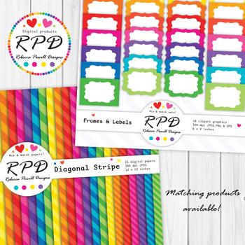 Hearts confetti pattern bright rainbow colours digital paper set/ backgrounds