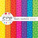 Hearts confetti pattern bright rainbow colours digital pap