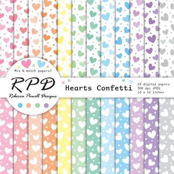 Hearts confetti pattern pastel colours & white digital paper set/ backgrounds