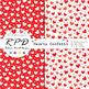 Hearts confetti pattern rainbow colours & white digital paper set/ backgrounds