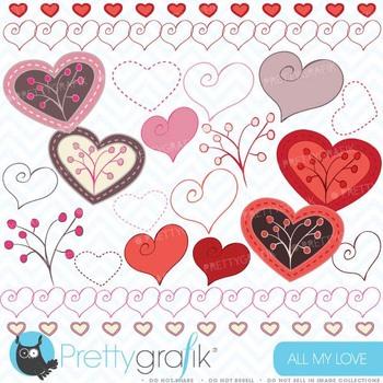 Hearts digital Clipart for scrapbooking & design, love, heart, branch - CL318