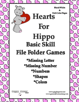 Hearts for Hippo Basic Skill File Folder Games