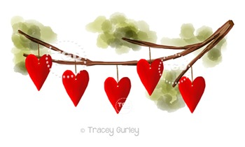 Hearts hanging from tree branch - valentine clip art Trace