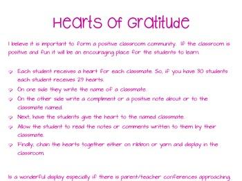 Hearts of Gratitude: A Classroom Community Builder Activity