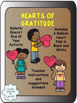 Hearts of Gratitude Bulletin Board Activity End of Year / Seasonal