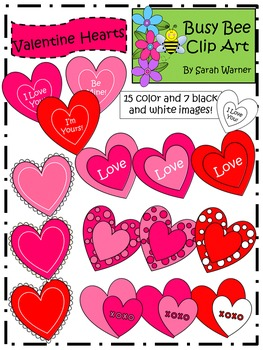 Valentine Hearts Freebie {By Busy Bee Clip Art}