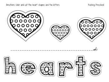 Hearts sort by size (color, cut & paste)