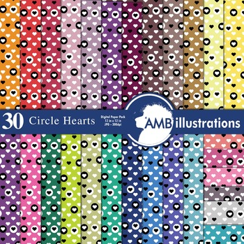 Digital Papers, Valentines Hearts within circles patterned Papers, AMB-331