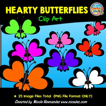 Hearty Butterflies Clip Art For Teachers