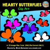 Hearty Butterflies Clip Art for Commercial Use