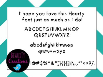 """""""Hearty"""" Font by BeauxTy Creations"""