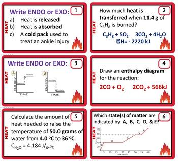Thermochemistry ~ 28 Chemistry Task Cards~ Specific Heat/Heating Curve/Enthalpy