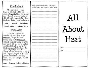 Heat Brochure Interactive Notebook Option