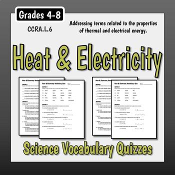 Science Vocabulary Assessments - Heat & Electricity