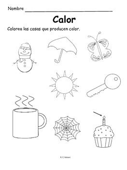 Heat Energy Calor: English AND Spanish