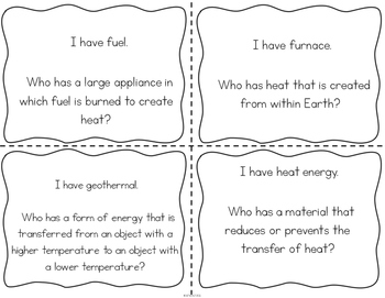 """Heat Energy Interactive Vocabulary Game """"I Have, Who Has?"""" Cards"""