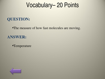 Heat Energy Jeopardy- NC Science Essential Standards 5th Grade