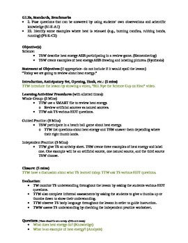 Heat Energy Lesson Plan Review Day