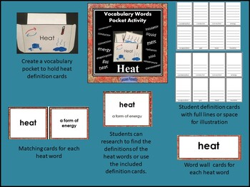 Heat Energy Vocabulary Words Pocket Activity with Definition and Word Wall Cards